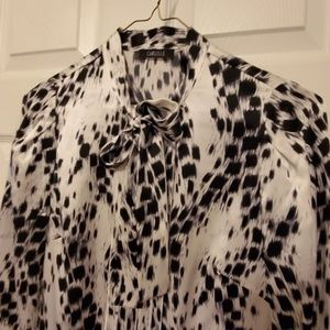 Carlisle Animal Print Tie-Neck Silk Blouse